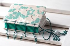 Blue Floral Print Lined Notebook / Coptic Stitch Journal / Mini Travel Diary