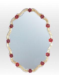 Venetian mirror, in Murano glass, with red flowers di Muranospareparts su Etsy