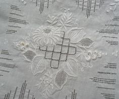 Vintage Cotton Tablecloth with White on White by marypearlsvintage