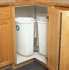 great lazy susan space for your trash cans and recycle...