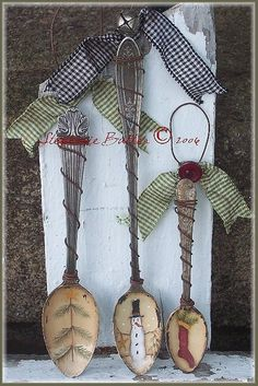 Thrift Store Spoon Ornaments - Lovely pieces. Paint spoons, wire, accent pieces. Many questions.