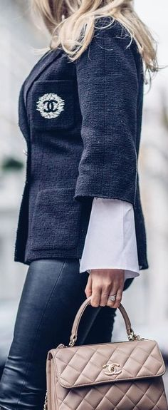 Chanel Claire Chanelle, Chanel Street Style, Gabrielle Bonheur Chanel, Chanel Jacket, Chanel Couture, French Chic, Fashion Moda, Chanel Fashion, Chanel Handbags