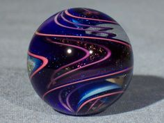 Marbles: Hand Made Art Glass James Alloway Dichroic Marble #1746  1.08 inch