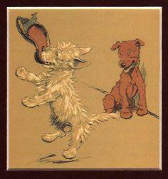 "Cecil Aldin ""MAC"" West Highland Terrier chewing a shoe"