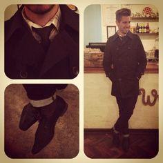 Black trench. Tie. Brogues. #whatmyboyfriendwore #mensfashion #fashion #outfitoftheday