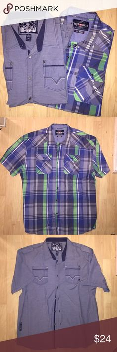 Men's Big and Tall 3XL Ecko & Mecca Button Up Polo Both in very good condition. Short sleeved button up polo style shirts. Size 3XL Shirts Casual Button Down Shirts