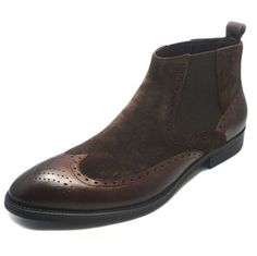 Fulinken Men's Two-tone Suede Leather Formal Dress Boots Slip on Classic Brogue Wingtip Dress Shoes Martin Boots Mens Shoes (8.5, Brown) - http://authenticboots.com/fulinken-mens-two-tone-suede-leather-formal-dress-boots-slip-on-classic-brogue-wingtip-dress-shoes-martin-boots-mens-shoes-8-5-brown/