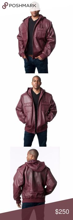 "Live Mechanics Lambskin Leather Hooded Jacket Zinfandel (Burgundy) Premium Perforated Lambskin 30″ Man's Leather Zip Hooded Jacket Patch Pockets with Shoulder Epaulets and Detachable Hood Knit Cuffs and Hem Detail Crest Insignia on Back Brand:  ""Live Mechanics"" also available in purple   We are a four generation family owned fur, leather, and outerwear store. Please visit our website for verification and credentials. Live Mechanics Jackets & Coats"