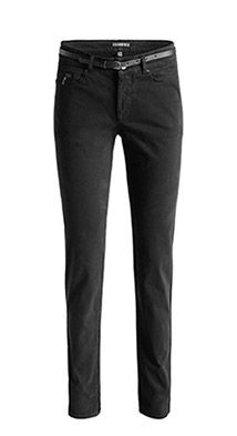 Soft satinierte 5-Pocket-Hose mit Gürtel