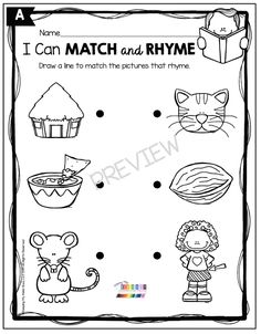 KINDERGARTEN RHYMING UNIT - September rhyming unit - back to school - kindergarten fluency - preschool - first grade - worksheets and printables - fun activities - words that rhyme - small groups - whole group - independent work - homework - learn from home - distance learning - lesson prep - no prep - easy to use #kindergartenrhyming #rhymingink Rhyming Worksheet, Sequencing Activities, Educational Activities, Fun Activities, Nursery Rhymes Preschool, Rhyming Pictures, Kindergarten Centers, Literacy Centers, First Grade Worksheets