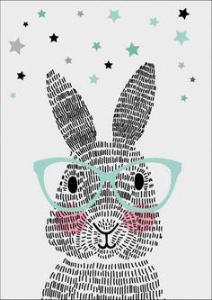 Sparkling paper poster mr. rabbit op A3 of A2 formaat. Dit konijn bestaat niet uit één, niet uit twee, maar uit honderdachtentwintig streepjes. Geen schaapjes maar streepjes tellen. Welterusten! De posters zijn gedrukt met kwalitatief hoogwaardige inkt op dik papier.