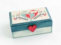 Bagoly szerelem kicsi ékszertartó fa doboz