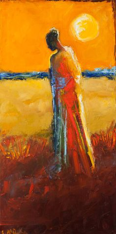 """""""End of Day,"""" orange impressionist painting by Shelby McQuilkin   See more work inspired by Vincent Van Gogh: http://www.saatchiart.com/art-collection/Painting-Photography-Collage/Happy-Birthday-Vincent/685448/100791/view"""