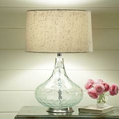 Dimpled Aqua Glass Table Lamp from Midnight Velvet®