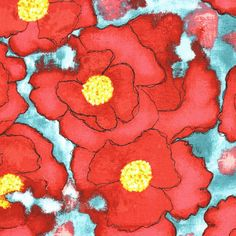 Michael Miller Worn Poppy in Red from the Cosmo Collection 1 Yard Cut -- sewperfectlyvintage on etsy