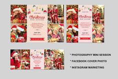 Christmas Mini Session Template-V426 by Template Shop on @creativemarket Holiday Mini Session, Christmas Mini Sessions, Christmas Minis, Christmas Holidays, Photography Mini Sessions, Holiday Photography, Christmas Facebook Cover, Photography Marketing, Photoshop Elements