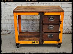 This yellow Holy Funk Kitchen Island or Display Unit is a standout industrial style furniture piece and its uses are only limited by your im...