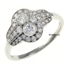 2-Stone-2-12Ct-Round-Diamond-Vintage-Bezel-Engagement-925-Sterling-Silver-Ring