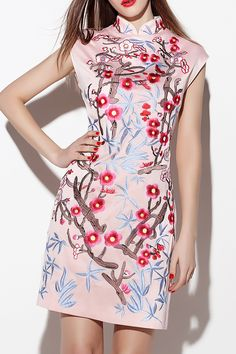 Sleeveless Stand Collar Floral Embroidered Dress