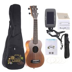 KAKA KUS-70 21 Solid Koa Top Side Ukulele 4 Strings Green Shell Inlay Rosewood Fretboard with Gig Bag Tuner Strings Set Cleaning Cloth Neck Strap
