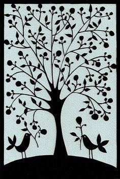 Folk Art tree with birds papercutting. © Suzy Taylor