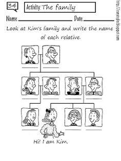 ficha para repasar el vocabulario sobre la familia