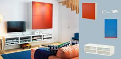 BESTÅ white TV bench with open compartments and wall cabinet with orange doors
