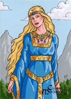 Freyja Sketch Card - Classic Mythology II by ElainePerna on DeviantArt Norse Goddess Of Love, Celtic Goddess, Celtic Mythology, Norse Religion, Art Trading Cards, Pagan Art, Old Norse, Gods And Goddesses, Deities