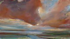 Rode lucht Hendrik Elings (1967) 40 x 72 cm  schilderij  olieverf op paneel  Foto: Hendrik Elings