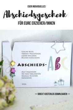 Kindergarten Abschied Erzieherin Geschenk: Natürlich möchte man sich gebühren… Kindergarten farewell educator gift: Of course you would like to thank the educators. With this personal gift to the educator you will surely spread a few tears of joy. Kindergarten Teacher Gifts, Kindergarten Lesson Plans, First Day Of School, Back To School, Diy Gifts To Sell, Farewell Gifts, Teacher Appreciation Week, Tears Of Joy, Education Quotes