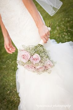 Bridal bouquet with roses and baby's breath