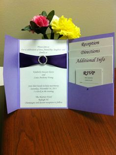 Handmade Pocket Fold Wedding Invitation with Rhinestone and Ribbon