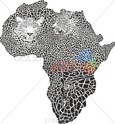 Black and white leopard giraffe camouflage hide forming africa continent on white vertical Africa Continent, African Art Paintings, White Leopard, Scroll Saw, Continents, Giraffe, Black And White, Shirt Ideas, Camouflage