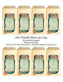 Doucement Mis à la ferraille: imprimables Bleu Mason balises Jar gratuites, Avec Bee et fleurs