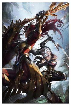 Leona vs Diana League Of Legends Fan-Art Epic Art, Fantasy, Lol, Legend, Lol League Of Legends, Art, Warrior Woman, Fan Art, League Of Legends Characters
