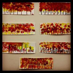 Kindergarten art project- fall tree line.  www.bloomshoppe.com