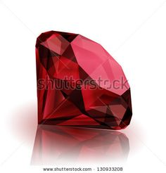 Realistic ruby on white background with reflection - eps10 - stock vector