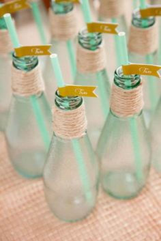 Mint bottle escort cards | http://burnettsboards.com/2014/01/shabby-chic-peach-mint/