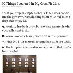A fun post! (Read #1-5 by clicking on the link in my bio.) #crossfit #gyms #fitness