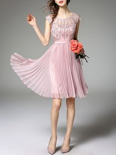 Pink Cocktail Crew Neck Polyester Pleated Midi Dress