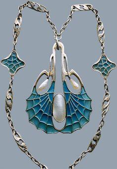 Collier Art Nouveau - Argent, Nacre et Email - Otto Prutscher - Vers 1900