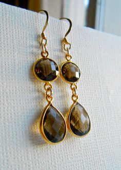 Smoky Quartz Dangle Gemstone Earrings