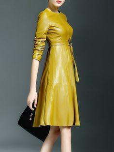 Paneled PU Midi dress