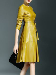 CYANINE SEA Paneled PU Midi dress