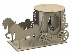 Y174 Horse & Carriage WEDDING CAKE Topper Cupcake LARGE MDF Table Display Stand