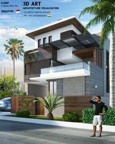 2 Storey House Design, House Front Design, Small House Design, Building Elevation, House Elevation, Front Elevation, Modern Exterior House Designs, Modern House Design, Facade House