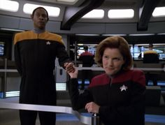 """Star Trek: Voyager Screencap--""""Critical Care""""...""""No, I don't want to take your weird space boyfriend who is a thief and has a mask face.  I already have a man."""""""