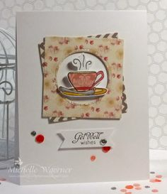 Get well soon card with Spellbinders square and circle dies, Taylored Expressions Tea-riffic set. #getwell #sequins #card