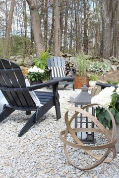 Come see this dynamic patio makeover. Inspired by the coast and a love for texture, you won't want to miss this cozy outdoor living space. Fire Pit Backyard, Backyard Patio, Backyard Landscaping, Pea Gravel Patio, Backyard Ideas, Cabana, Backyard Makeover, Outdoor Projects, The Fresh