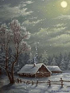 """COUNTRY WINTER UNDER A FULL MOON"" http://mamietitine.centerblog.net/voir-photo?u=http://mamietitine.m.a.pic.centerblog.net/o/anim_4_26.gif"